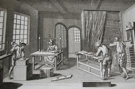 Bookbinders, from Diderot and D'alembert's Encyclopedia (Encyclopedie, ou Dictionnaire raisonne des sciences, des artes et des metiers, par une societe des de gens de lettres), late 18th century.